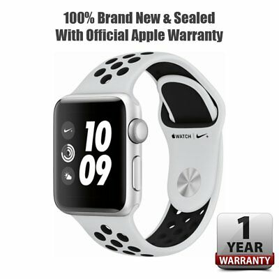 New & Sealed Apple Watch Series 3 Nike 38mm GPS Silver Alum Case Pure Platinum