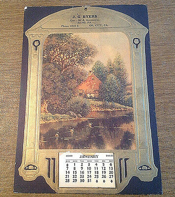 Vtg Rare 1940 J.G. Byers Gas & Oil Reno & Oil City, PA Advertising Calendar