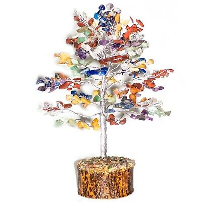 Golden Silver Wire Natural Healing Stone Feng Shui Bonsai Money Tree 10 Inches