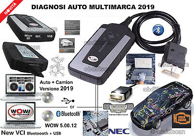 Diagnosi Auto Professionale Multimarca Wow 5.00.12 2019 Per Auto Pulman E Camion