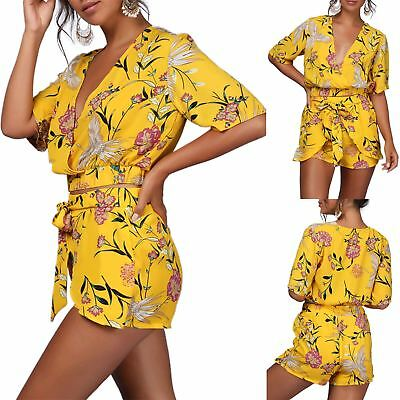 f7d08dbc9d New Womens Ladies 2 Piece Shorts Tie Knot Belted Floral Deep V Plunge Co-Ord