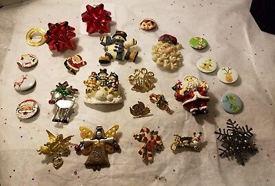 Huge Lot Of Christmas Brooches Buttons & Pins- 3 Signed C & Avon