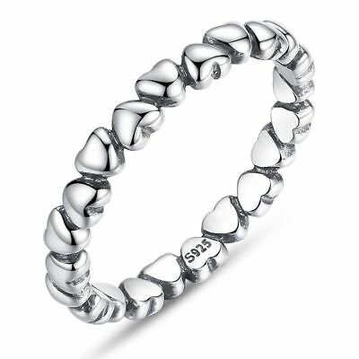 925 Sterling Silver Forever Love Heart Finger Ring Jewelry NewYear & Valent V2T4