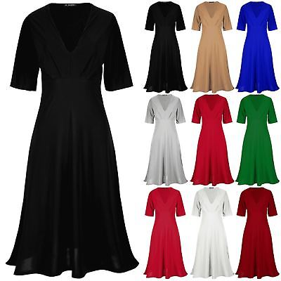 Ladies Deep V Neck 3/4 Sleeve Flared Soft Ruched Bell Sleeves Womens Midi Dress