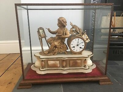 Antique Victorian French Gilt Spelter Marble Clock In Dome Case