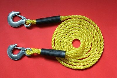 "1800KG Tow Rope Recovery Breakdown 3 Metres x 10mm Snap Lock Metal Hooks ""NEW"""