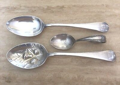 2 Silver Plated  Serving Spoons, Including  Dixon Berry & Rodd Tea Caddy Spoon
