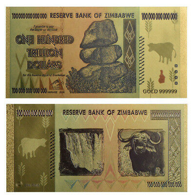 2x Zimbabwe 100 Trillion Dollars Banknote Color Gold Bill World Money Collection