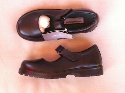 Girls Green Cross Black Leather Mary Jane School Shoes  Size: 12 Bn Rrp:$120