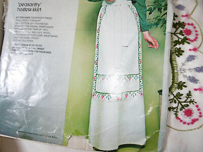 Bucilla embroidered apron skirt kit cloth kit to complete good condition
