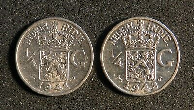 1 X 1941 And 1 X 1942 Netherlands East Indies 1/4 Guilder In Brilliant Condition