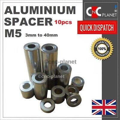 M5 ID5.1 X OD10mm Aluminium Standoff Spacer V-slot Silver Anodized Pack of 10Pcs