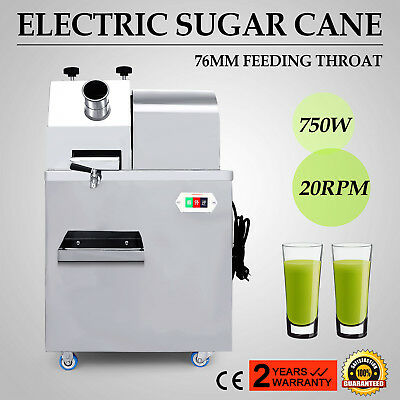 "Electric Sugar Cane Juicer 20RPM 3"" Feeding Throat Sweet Sorghum Cafe Restaurant"
