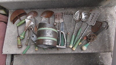 lot of 19 Vintage Wood Green Handled Kitchen Tools Accessories