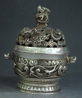 Marked Chinese silver Dragon Beast Hollow Out Incense Burner incensory Censer