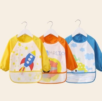 Waterproof Children Sleeved Bib Baby Bibs Toddler Bibs With Sleeves Feeding Bibs