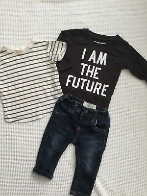 Next & River Island Baby Boys 3-6 Months Outfit, Bundle, Jeans, Tops