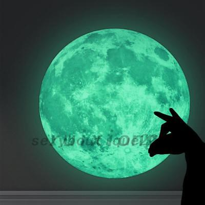 Luminous Moon Wall Moonlight Sticker Glow in the Dark Room Home Decor Mural 20CM
