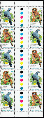 2002 Christmas Island WWF Birds Series, gutter strip of 10 x 45c stamps MNH