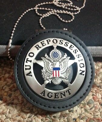 AUTO REPOSSESSION AGENT REPO MAN  PEWTER  BADGE STAR leather holder & clip