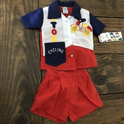 Vintage Deadstock MON PETIT Outfit Motorcycle Top Shorts Baby Boy Size 9 Months