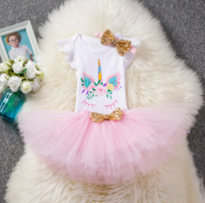 a37645c4ceea Newborn Baby Girl Unicorn Romper Tops Lace Tutu Skirt Party 3Pcs Outfits  Clothes