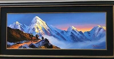 "PUMORI MOUNTAIN NEPAL HIMALAYAS ORIGINAL KNIFE PAINTING IN ACRYLICS 11"" x 30"""