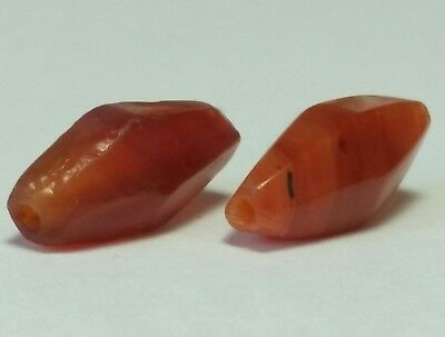 Ancient Beads, Ancient Rare Facketed Carnelian Beads.
