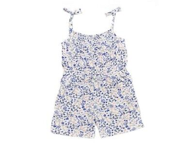 Girls Baby Toddler Multi Floral Print Cotton Strappy Elasticated Waist Playsuit.