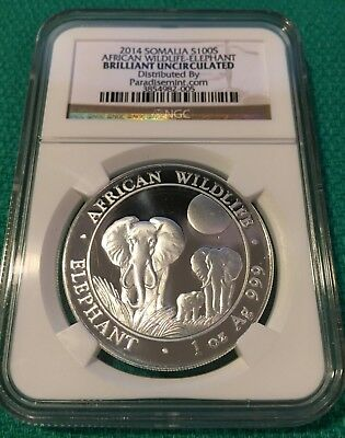 2014 Silver Somalia 100S Elephant, NGC - BU, Brilliant Uncirculated, African
