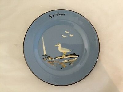 """Vintage Babbacombe Pottery Side Plate """"Brixham"""" with Handpainted Seagull -  6.5"""""""