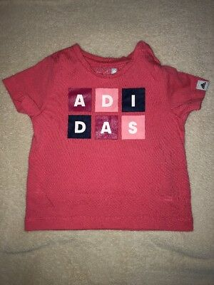 Baby Clothing Girls Adidas Pink T Shirt Size 9 - 12 Months