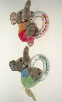 *NEW baby GIRL GIFT soft push toy ELEPHANT RING RATTLE activity toy BABY SHOWER