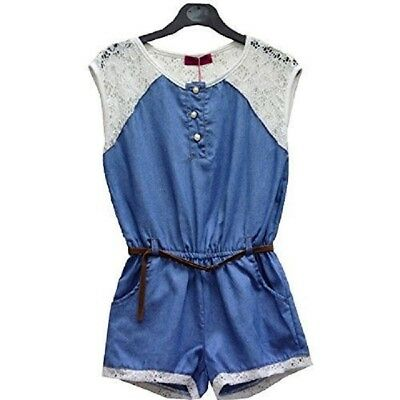 Girls Blue Lace Trim Elasticated Waist All in One Shorts Belted Summer Playsuit