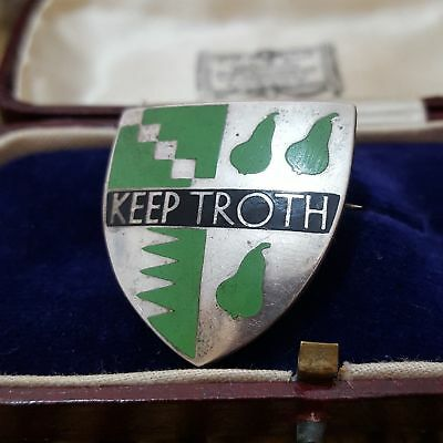"Vintage 1936 Sterling Silver Badge,yardley Grammar School Birmingham""keep Troth"""