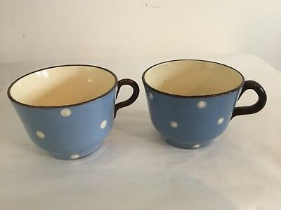 """2 xVintage Babbacombe Pottery Blue & White spotty Coffee Cups - 2.75"""" x 4"""""""