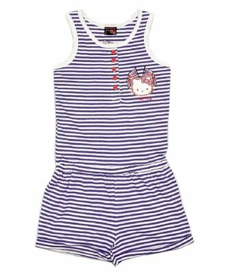 Girls Hello Kitty Sleeveless Cotton Elasticated Waist Striped Playsuit Jumpsuit