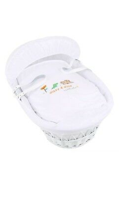 Isabella Alicia Embroidered Dizzy and Dino Wicker Moses Basket White