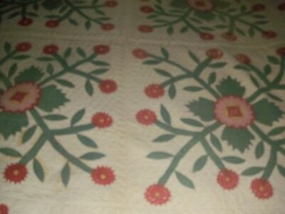 """ANTIQUE QUILT, HAND MADE, Pre 1930?, Flowers, 79"""" X 80"""", OLD, FINISHED"""
