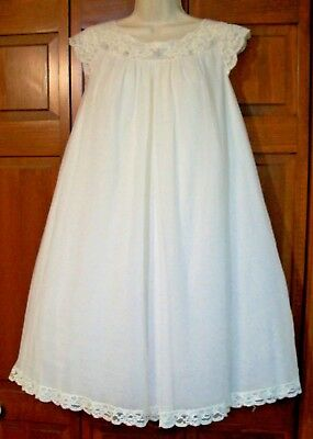 Beautiful Vintage Shadowline Silky Sheer Chiffon Ivory Negligee Nightgown Gown~M