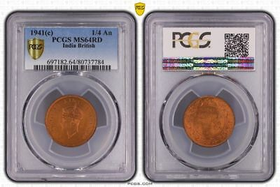 1941(c) India British One Quarter Anna PCGS MS64RD (Red) Highly Collectible Coin