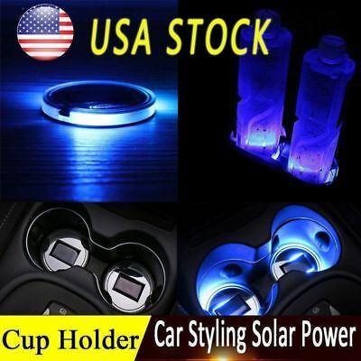 Hot Solar Powered Cup Pad Car Accessories LED Light Cover Trim Bottom Holder Mat