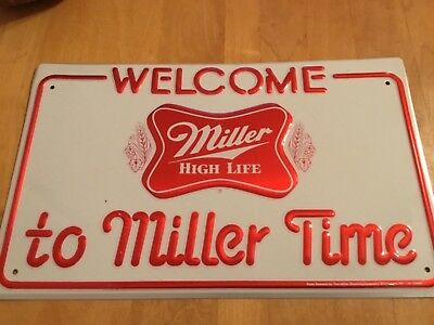 Vintage Original   MILLER High Life BEER Embossed Tin Advertising Sign NM!!!