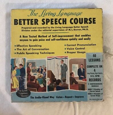 The Living Language LP Boxset Better Speech Course contains 4 LPs and 2 books