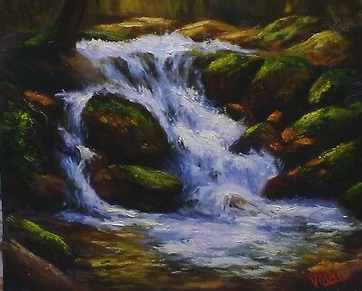Original Landscape Oil Painting  waterfall at snowy mountains by Vidal