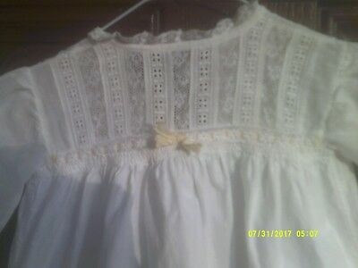 (1) Antique Edwardian Victorian Baby Gown & Trimmed With Hand Made Lace Used
