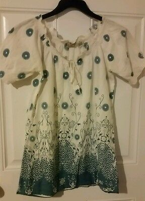 Vintage Dcc Womens White Blue Floral Peasant Top Shirt S Small