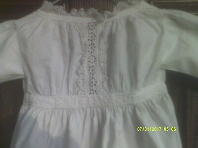 (2) Antique Edwardian Victorian Baby Gown & Trimmed With Hand Made Lace Used