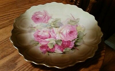 "Antique Signed Z.S & CO. Bavaria German Hand Painted Roses Plate-9 1/2"" Round"