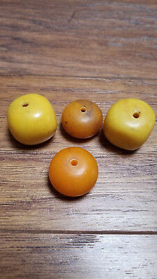 Antique Old Vintage Faux Amber Bakelite Beads Costume Jewelry